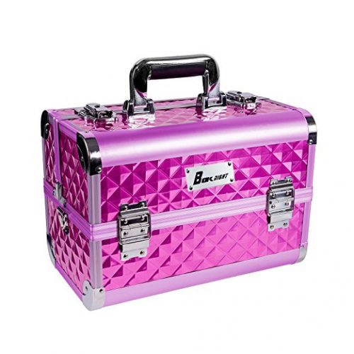 BOKNIGHT Beauty Pro Cosmetic Aluminum Makeup Box