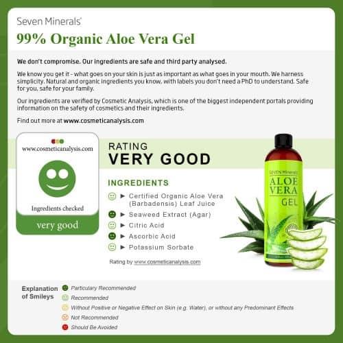 Seven Minerals Organic Aloe Vera Gel 100% Organic